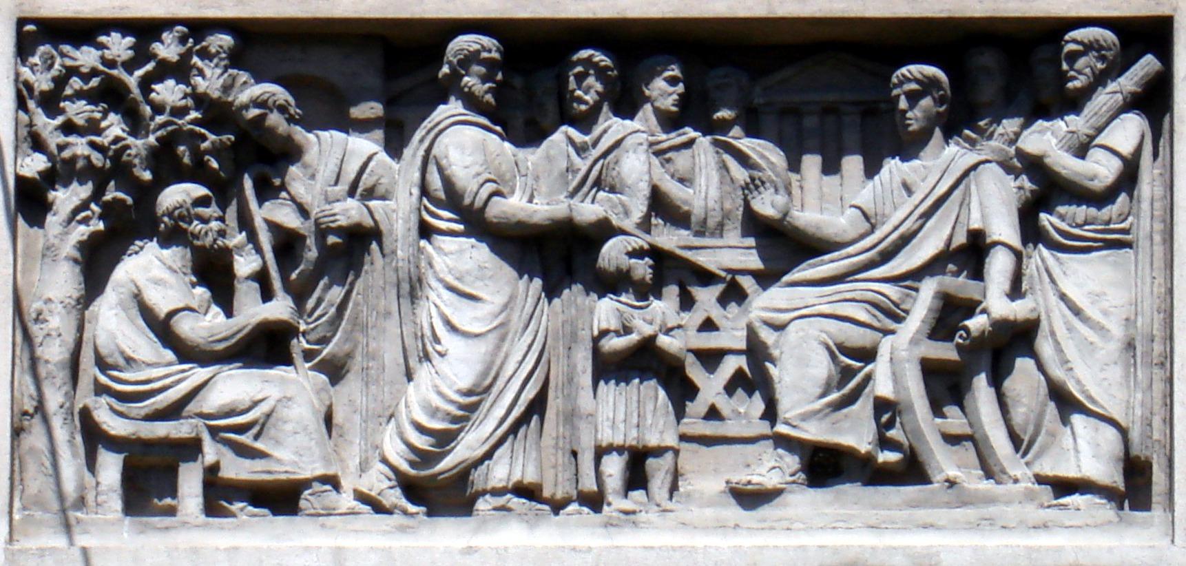 Magistratii romani eliberand un sclav